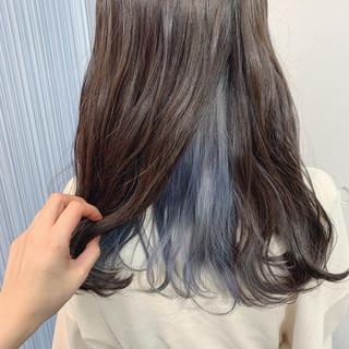 インナーブルー ブルー ストリート セミロング ヘアスタイルや髪型の写真・画像