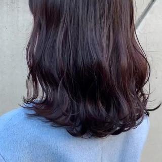 ピンクアッシュ ブルーラベンダー ストリート セミロング ヘアスタイルや髪型の写真・画像