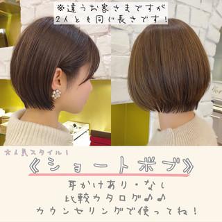 ショートボブ ショート 丸みショート ショートヘア ヘアスタイルや髪型の写真・画像