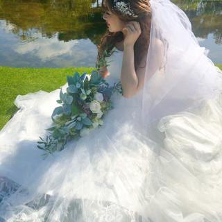 フェミニン ハーフアップ ブライダル ヘアアレンジ ヘアスタイルや髪型の写真・画像