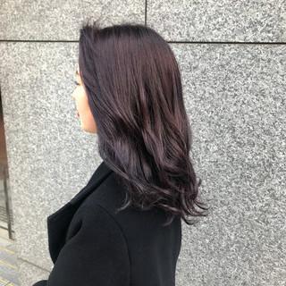 パープルカラー セミロング ナチュラル 紫 ヘアスタイルや髪型の写真・画像 ヘアスタイルや髪型の写真・画像