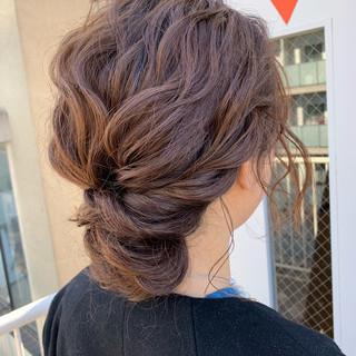 ミディアム ヘアアレンジ ルーズ 結婚式 ヘアスタイルや髪型の写真・画像 ヘアスタイルや髪型の写真・画像