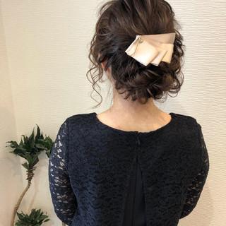 結婚式 ヘアアレンジ パーティ セミロング ヘアスタイルや髪型の写真・画像