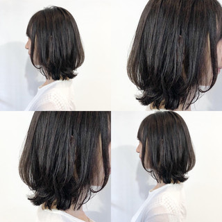 黒髪 パーマ フェミニン 外ハネ ヘアスタイルや髪型の写真・画像