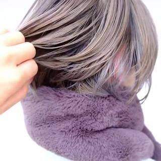 アッシュベージュ ボブ ナチュラル ショートヘア ヘアスタイルや髪型の写真・画像