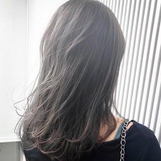 前髪 ナチュラル セミロング グレージュ ヘアスタイルや髪型の写真・画像