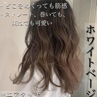 外国人風 透明感 グレージュ ロング ヘアスタイルや髪型の写真・画像