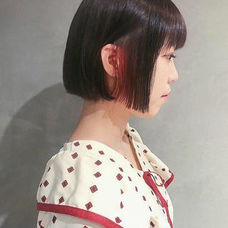 ボブ インナーピンク デート ミニボブ ヘアスタイルや髪型の写真・画像