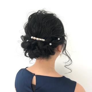 簡単ヘアアレンジ セミロング フェミニン ヘアアレンジ ヘアスタイルや髪型の写真・画像