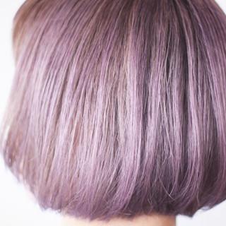 ボブ シアー ラベンダーアッシュ ラベンダーピンク ヘアスタイルや髪型の写真・画像
