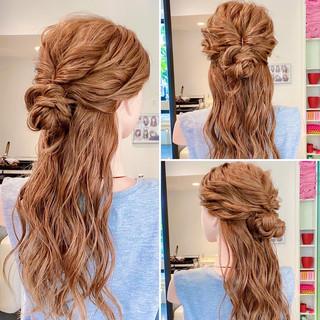 簡単ヘアアレンジ 三つ編み ハーフアップ ヘアアレンジ ヘアスタイルや髪型の写真・画像