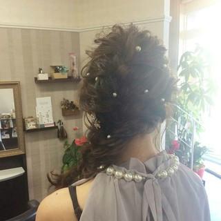 セミロング ナチュラル ヘアアレンジ 編み込み ヘアスタイルや髪型の写真・画像