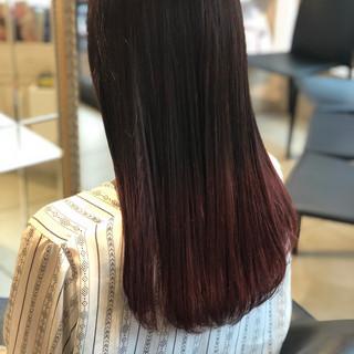 ピンク ロング ガーリー グラデーションカラー ヘアスタイルや髪型の写真・画像