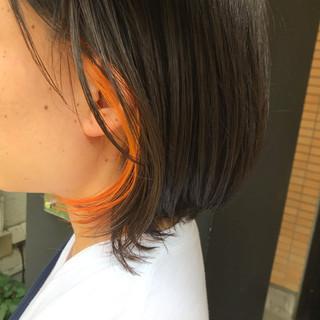デザインカラー ショートボブ ショート ショートバング ヘアスタイルや髪型の写真・画像