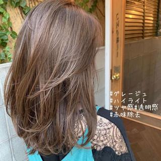 切りっぱなしボブ セミロング ナチュラル インナーカラー ヘアスタイルや髪型の写真・画像