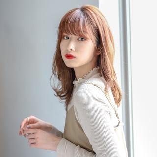 モテ髮シルエット 透明感カラー セミロング ナチュラル ヘアスタイルや髪型の写真・画像