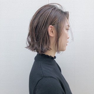 抜け感 ボブ モード 切りっぱなし ヘアスタイルや髪型の写真・画像