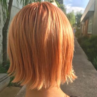 冬 切りっぱなし オレンジ ボブ ヘアスタイルや髪型の写真・画像