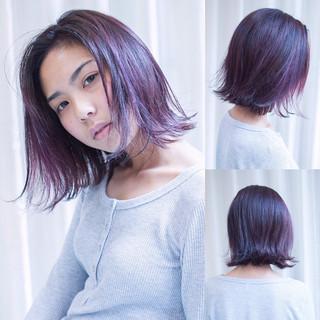 オフィス トワイライトパープル ガーリー パープル ヘアスタイルや髪型の写真・画像