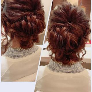 アップスタイル 結婚式 フェミニン ヘアアレンジ ヘアスタイルや髪型の写真・画像