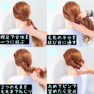 フェミニン ロング 簡単ヘアアレンジ 女子会 ヘアスタイルや髪型の写真・画像