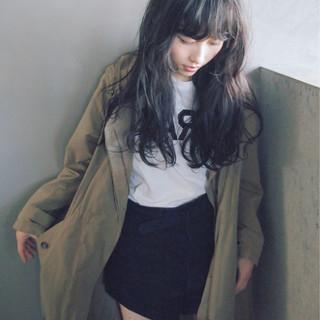 ロング ナチュラル 黒髪 パーマ ヘアスタイルや髪型の写真・画像