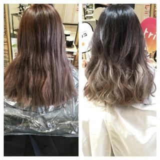 ストリート 暗髪 ハイライト ミディアム ヘアスタイルや髪型の写真・画像