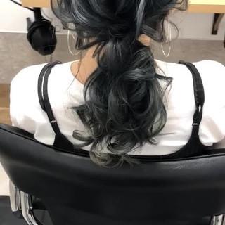 ラベンダー ローポニー エレガント ヘアアレンジ ヘアスタイルや髪型の写真・画像
