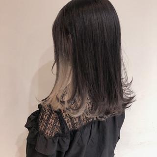 インナーカラーグレージュ ロング インナーブルー インナーカラーパープル ヘアスタイルや髪型の写真・画像