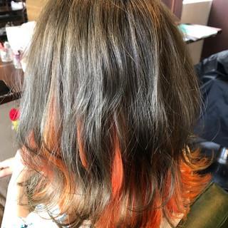 ヘアアレンジ コテアレンジ インナーカラー ボブ ヘアスタイルや髪型の写真・画像