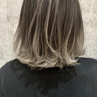 透明感カラー ボブ ナチュラル バレイヤージュ ヘアスタイルや髪型の写真・画像