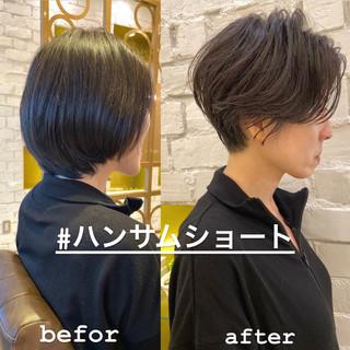 切りっぱなしボブ ミニボブ ナチュラル ショートヘア ヘアスタイルや髪型の写真・画像