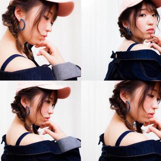 フィッシュボーン ハイライト ミディアム モード ヘアスタイルや髪型の写真・画像