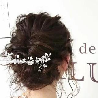 ナチュラル セミロング 結婚式 ヘアアレンジ ヘアスタイルや髪型の写真・画像