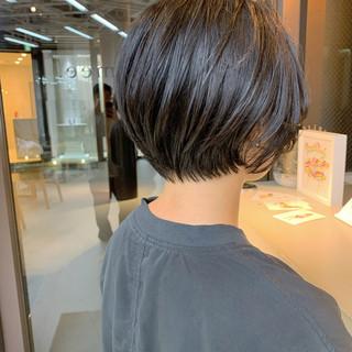 黒髪 黒髪ショート ショート ナチュラル ヘアスタイルや髪型の写真・画像