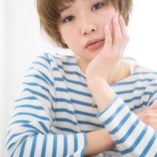 小顔 マッシュ 似合わせ ショート ヘアスタイルや髪型の写真・画像