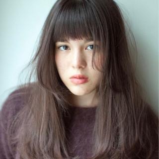 ラベンダーアッシュ ロング ヘアアレンジ デート ヘアスタイルや髪型の写真・画像