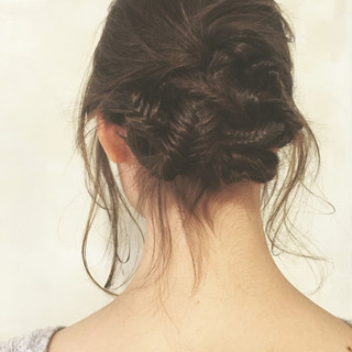 アッシュ 暗髪 ミディアム ヘアアレンジ ヘアスタイルや髪型の写真・画像