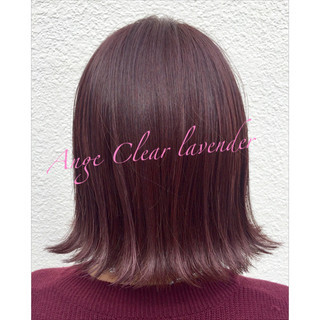 切りっぱなし 外ハネ ピンク ボブ ヘアスタイルや髪型の写真・画像