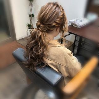 フェミニン ポニーテールアレンジ ヘアセット ポニーテール ヘアスタイルや髪型の写真・画像