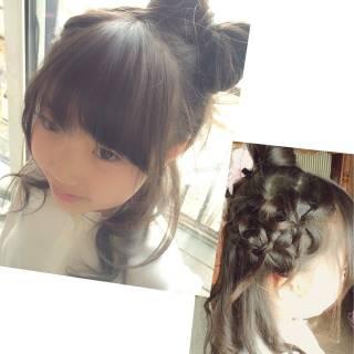 かわいい 子供 ヘアアレンジ ガーリー ヘアスタイルや髪型の写真・画像