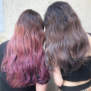 ストリート ラベンダーアッシュ ピンク パープル ヘアスタイルや髪型の写真・画像