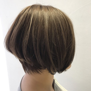 ボブ コントラストハイライト 3Dハイライト ナチュラル ヘアスタイルや髪型の写真・画像