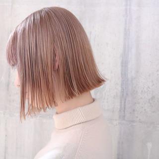 切りっぱなしボブ ミニボブ 簡単ヘアアレンジ ラベンダーピンク ヘアスタイルや髪型の写真・画像