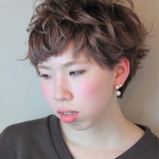 ショート ゆるふわ 前髪あり パーマ ヘアスタイルや髪型の写真・画像 ヘアスタイルや髪型の写真・画像