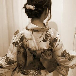 お祭り 花火大会 夏 ゆるふわ ヘアスタイルや髪型の写真・画像