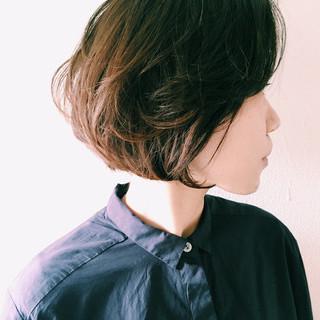 色気 ナチュラル ボブ ダークアッシュ ヘアスタイルや髪型の写真・画像