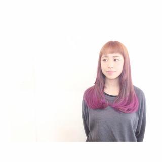 ピンク グラデーションカラー ストリート ショートバング ヘアスタイルや髪型の写真・画像 ヘアスタイルや髪型の写真・画像