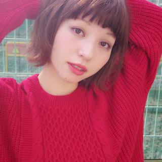 小顔 秋 ナチュラル ショート ヘアスタイルや髪型の写真・画像