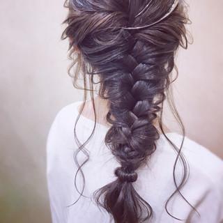 編みおろし デート エレガント 結婚式 ヘアスタイルや髪型の写真・画像 ヘアスタイルや髪型の写真・画像